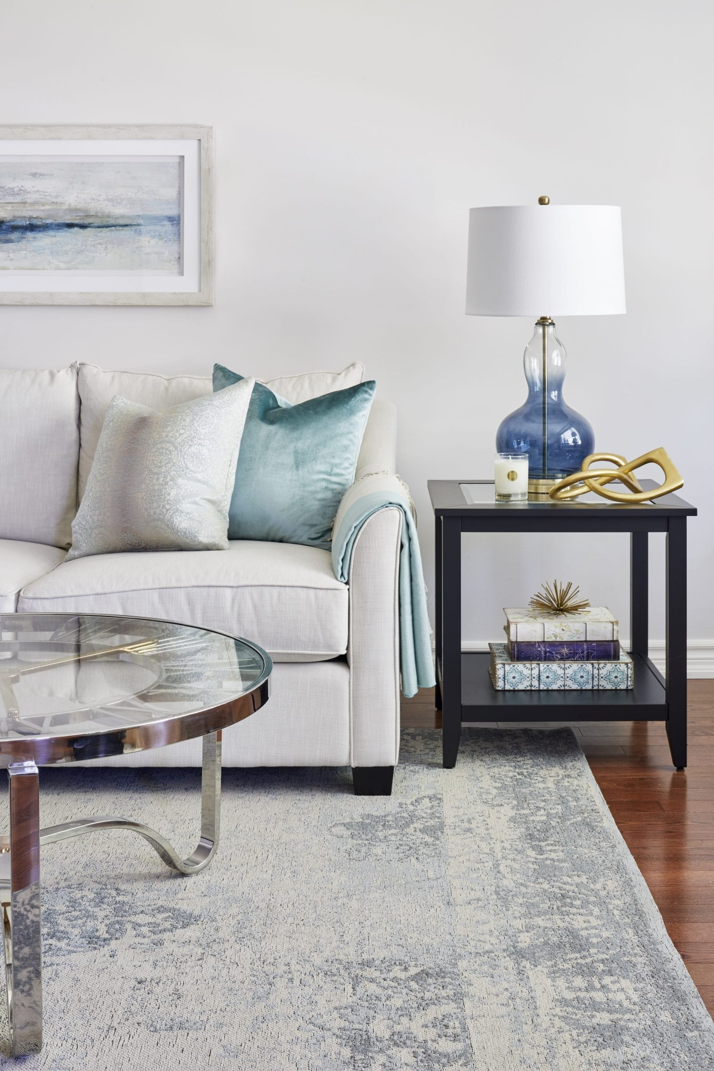 Interior Styling ideas crate & barrel vase blue and gold artwork