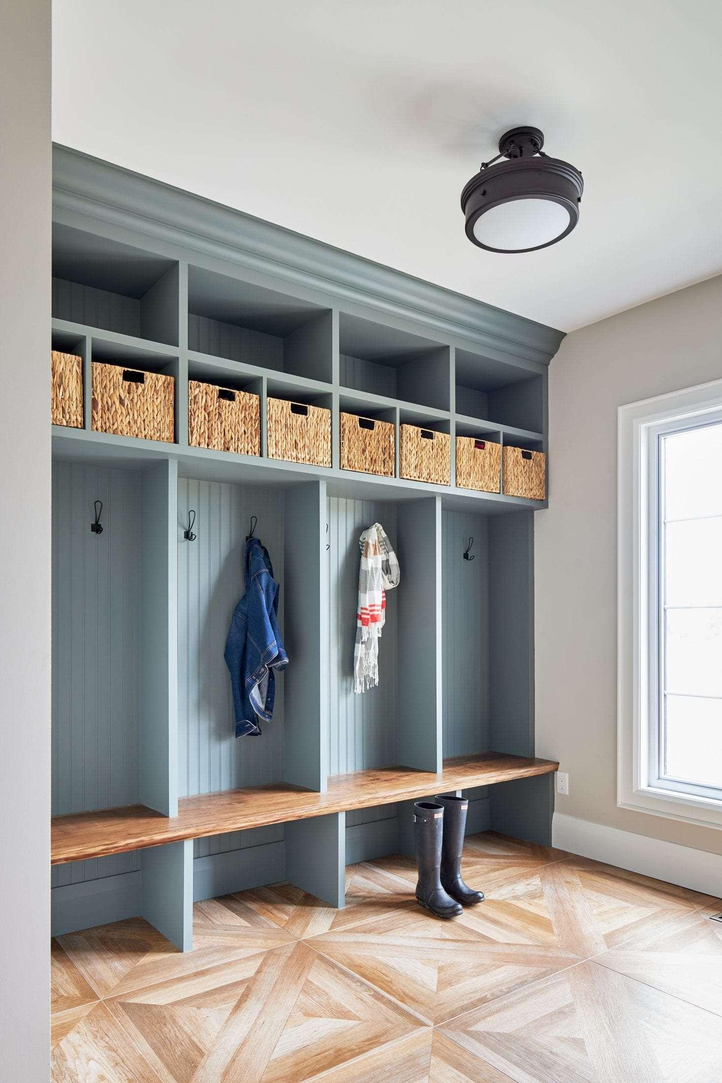 Wood look tile Benjamin Moore seasalt custom build