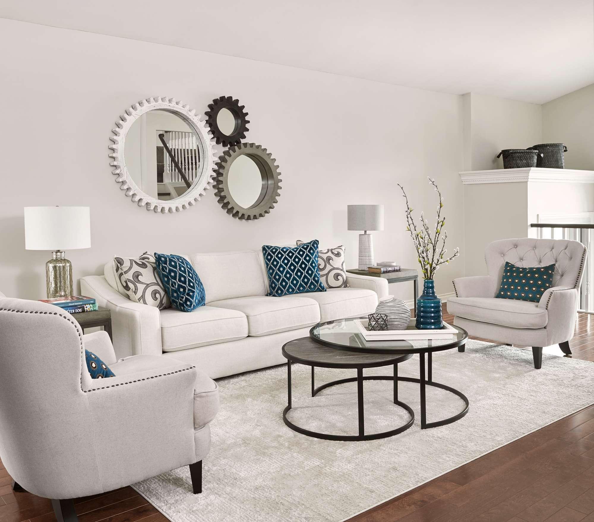 Great room interior decor teal accents orangeville