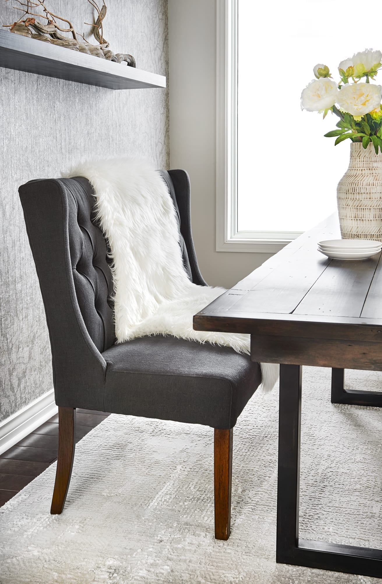 Dining room bench seat rustic glam design barrie