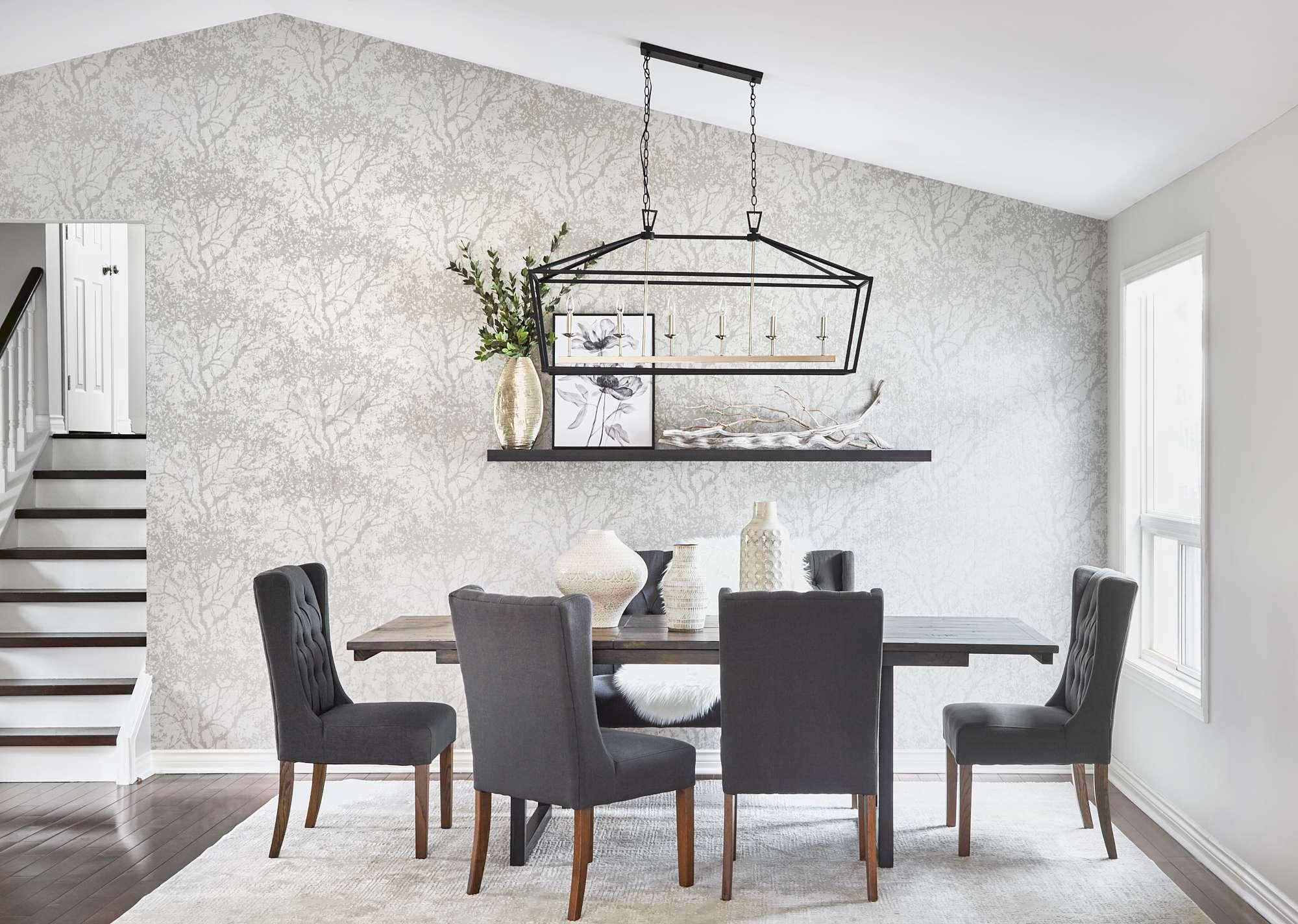 Dining Room design grey wallpaper rustic table
