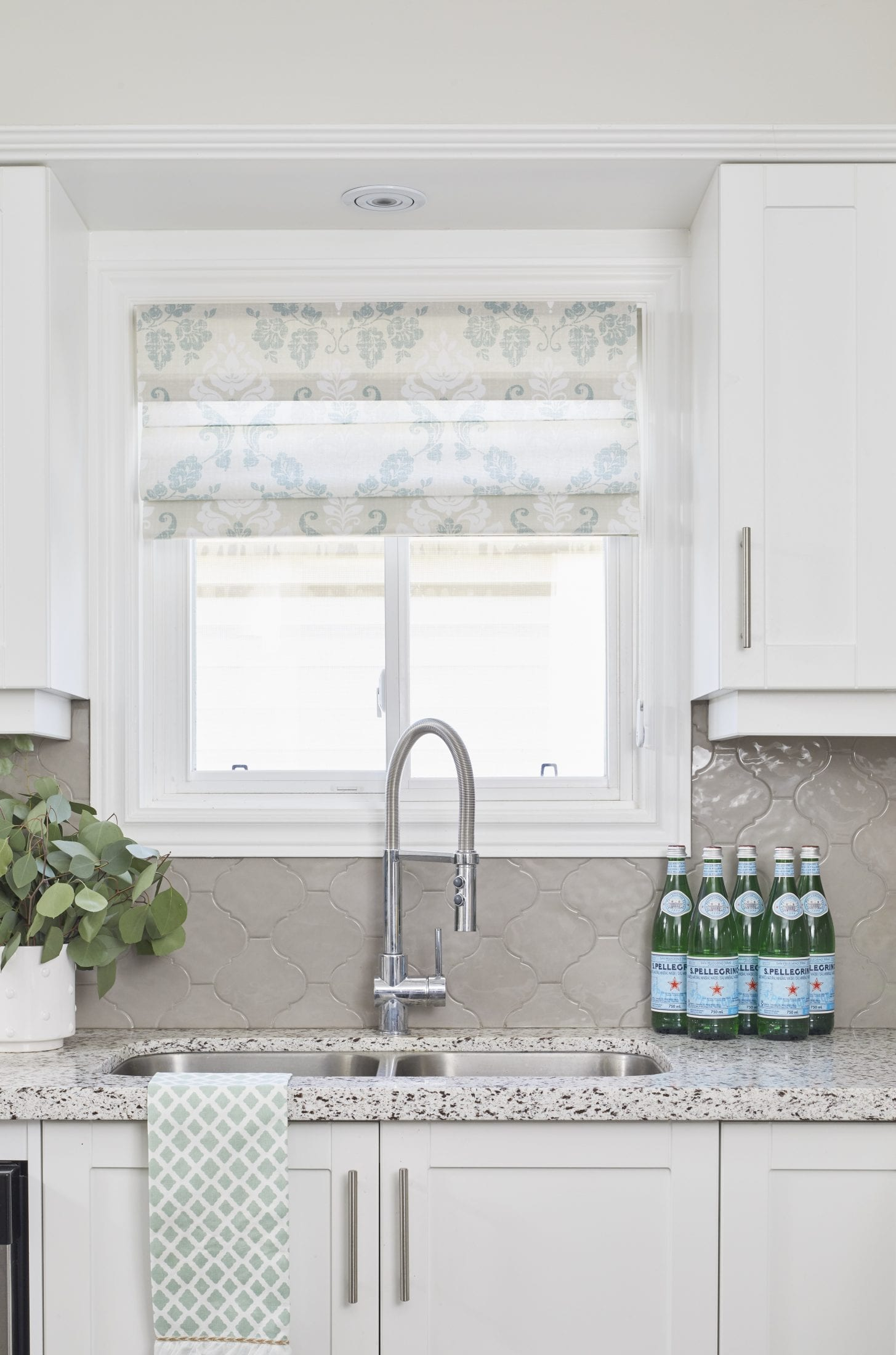 window Covering ideas roman shade for kitchen above sink