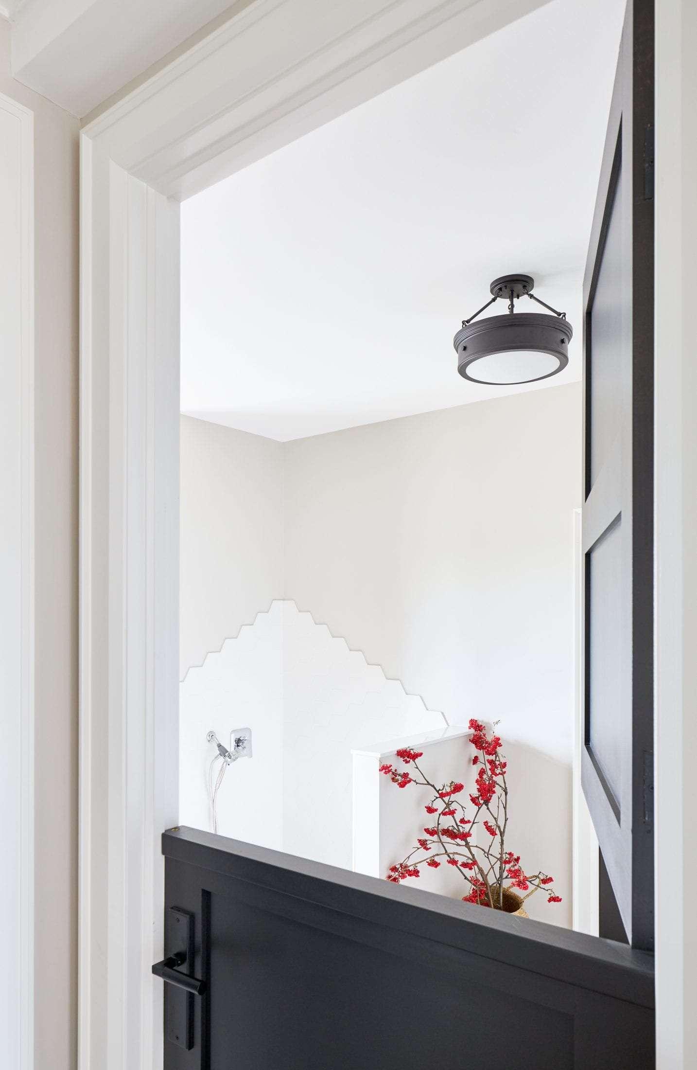 Black interior doors dutch door mudroom tile design