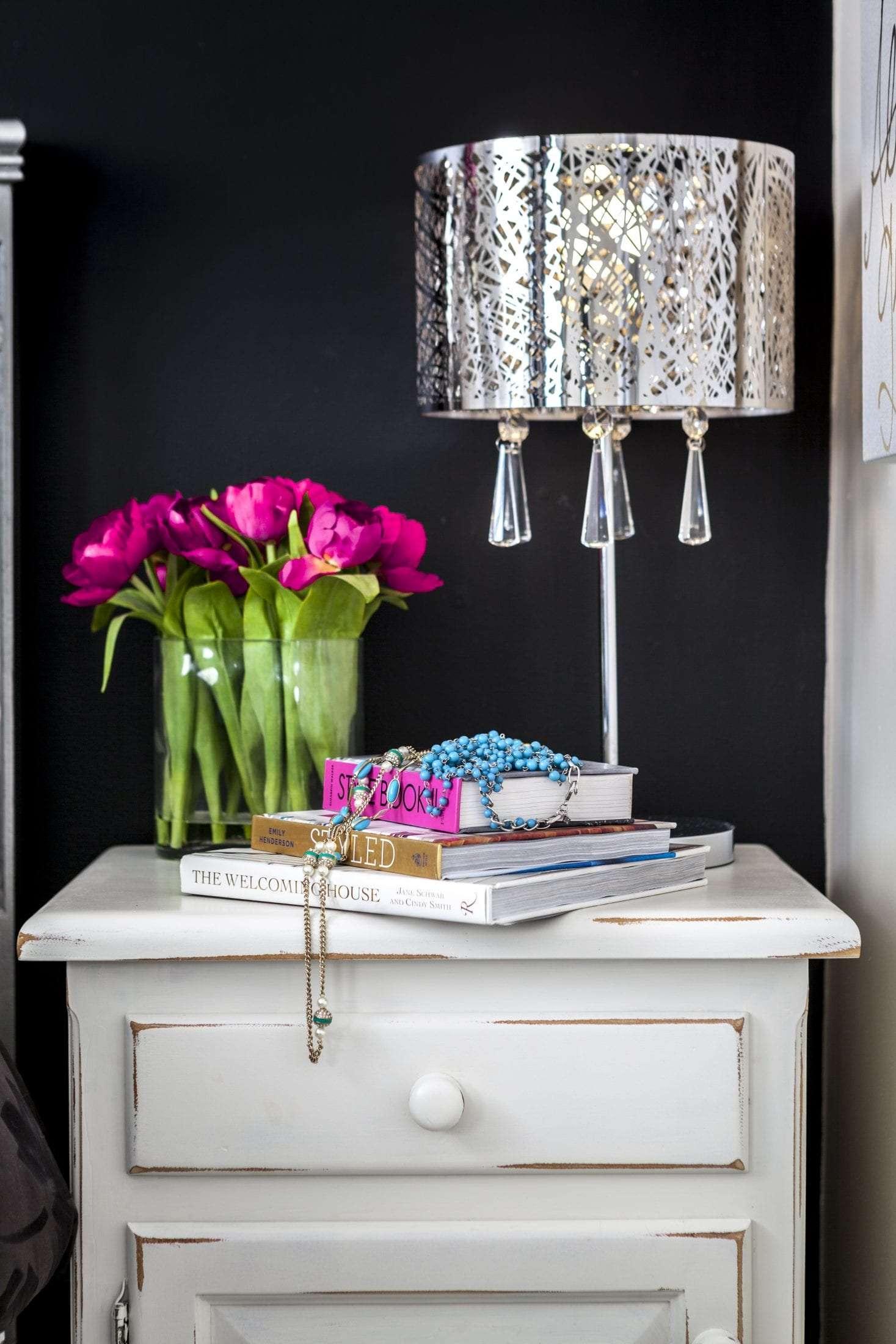 Glam girls bedroom anitque white nightstand