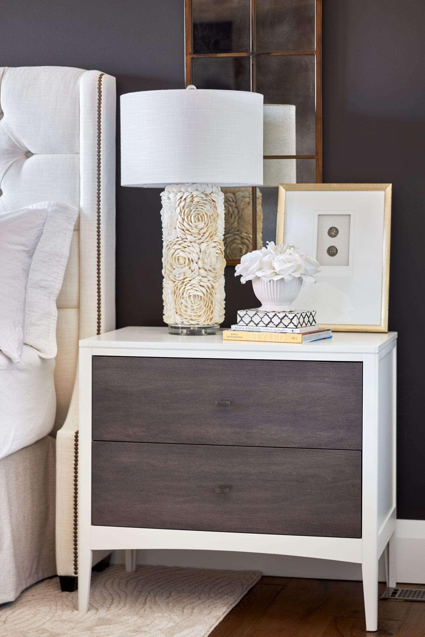 Interior Design Master bedroom Geovin custom nightstand Benjamin Moore Dove White