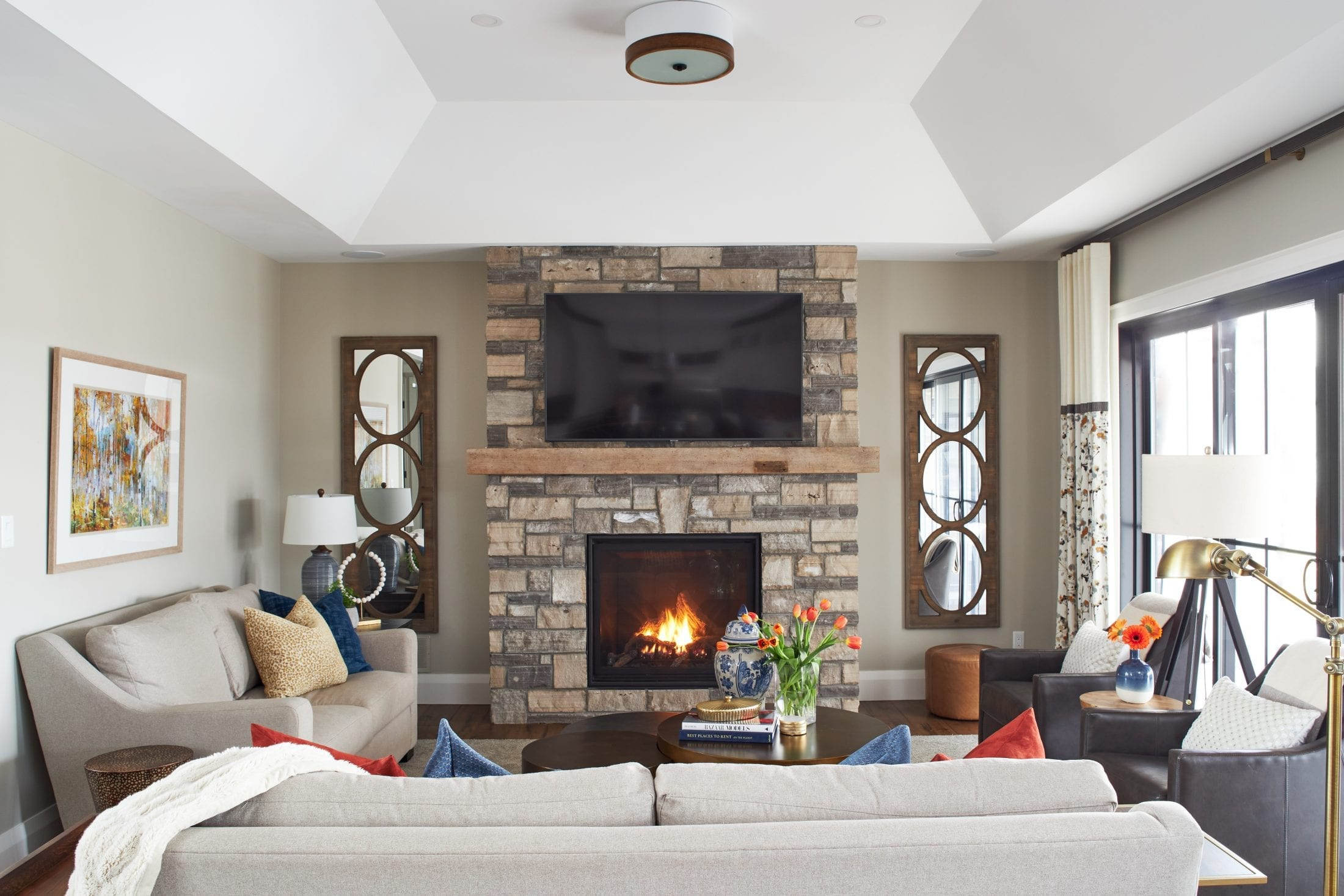 Warm and Cozy family room design country home