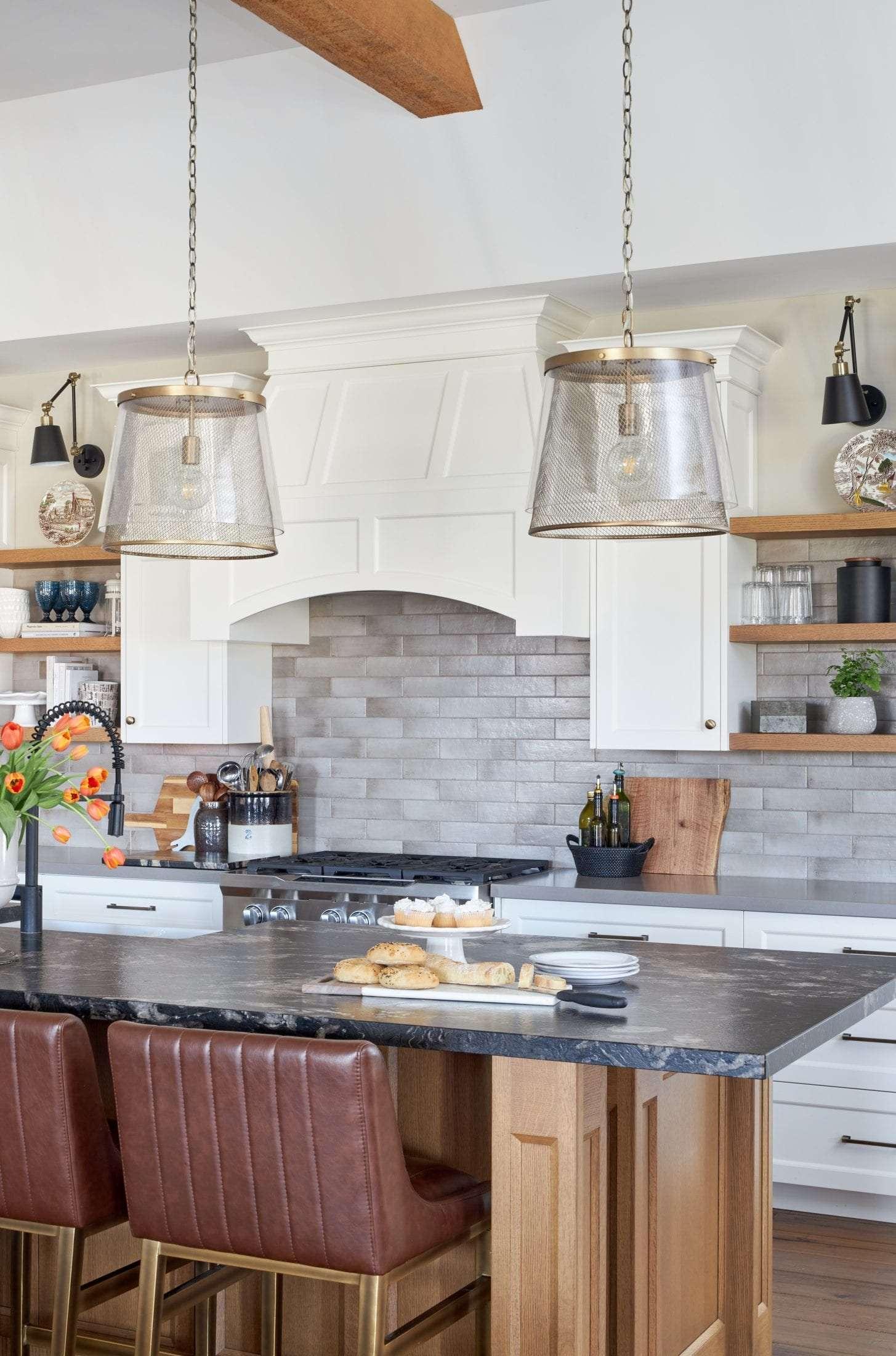 Custom hood fan open wood shelves kitchen leathered granite island