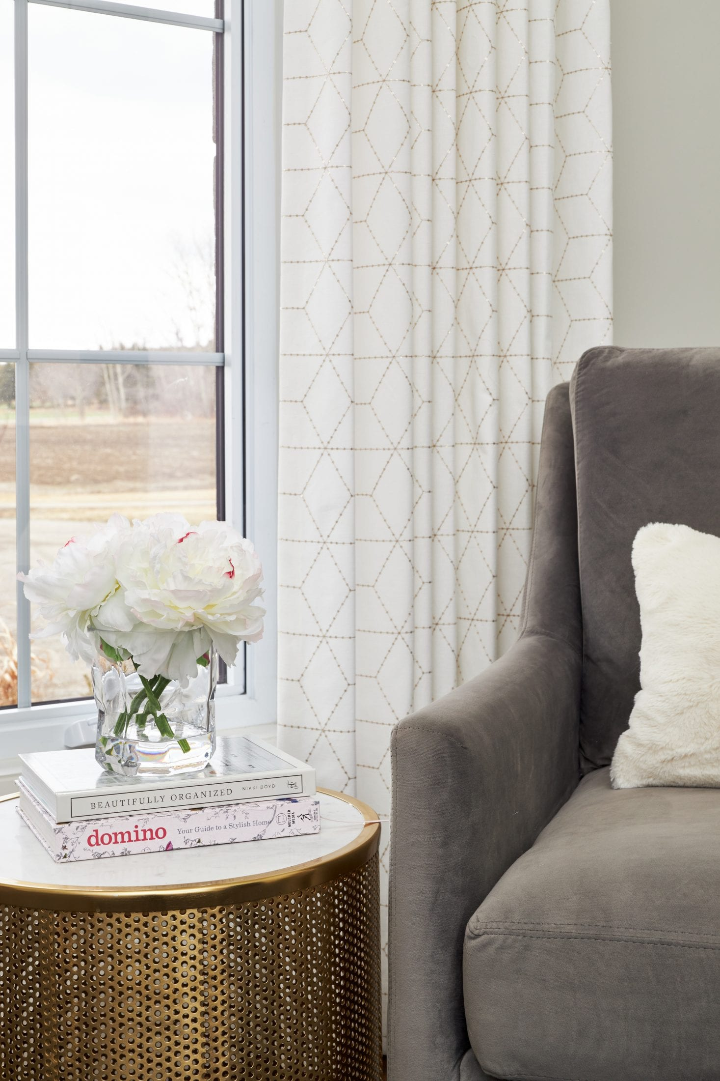 Custom Window Coverings Nobleton, ON with grey swivel chair in home office