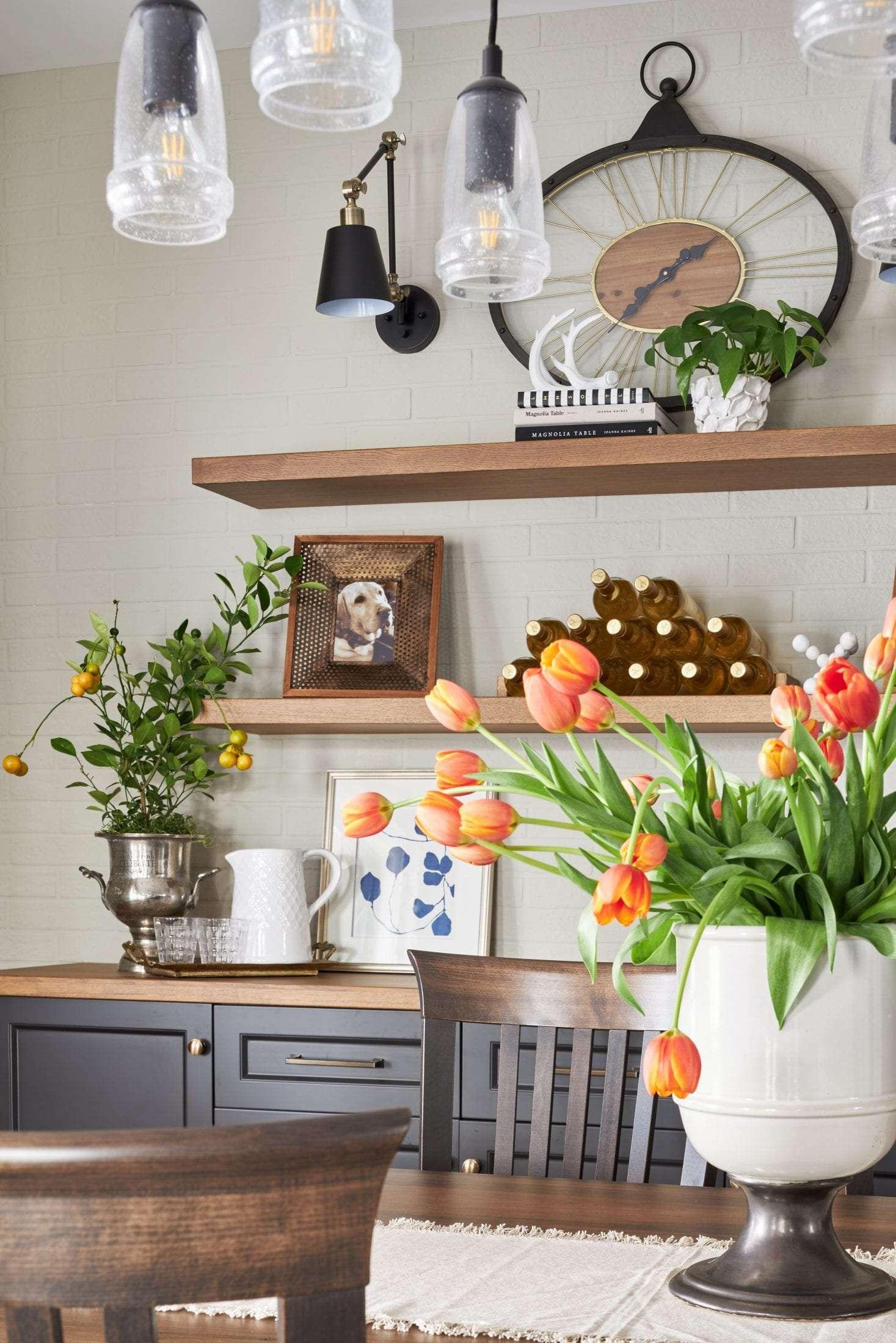 wood floating open shelves custom design country dining room