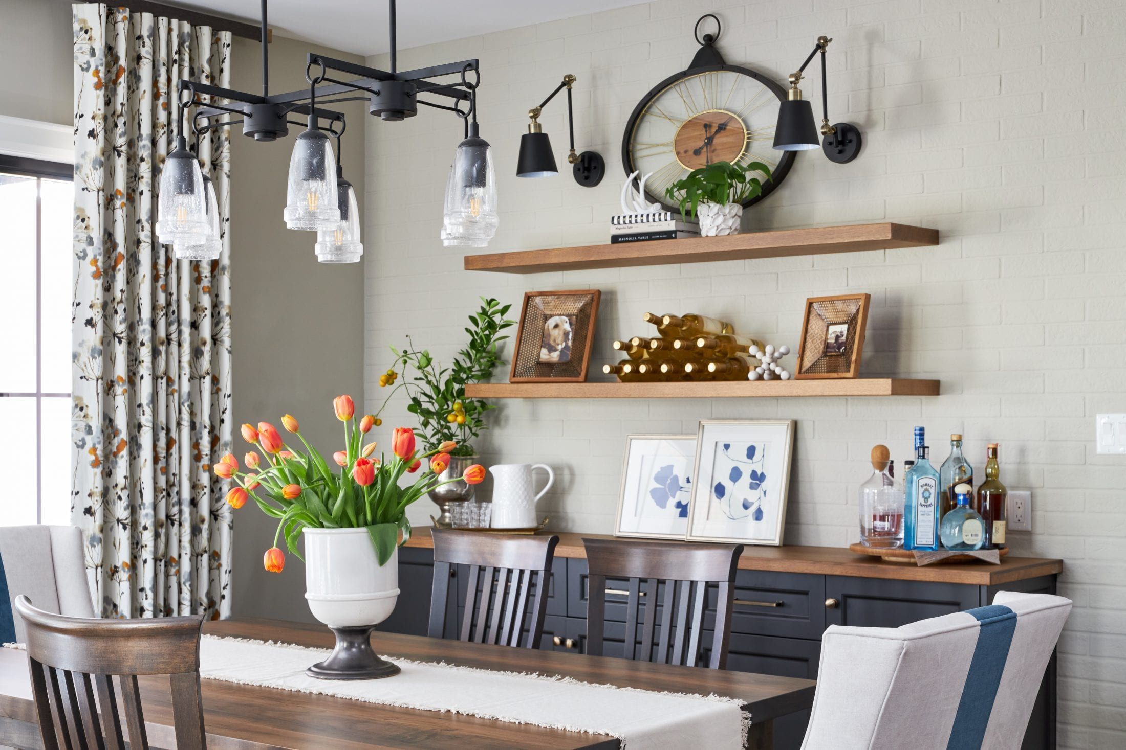 Farmhouse Dining room custom design hostess chairs blue stripe bar area