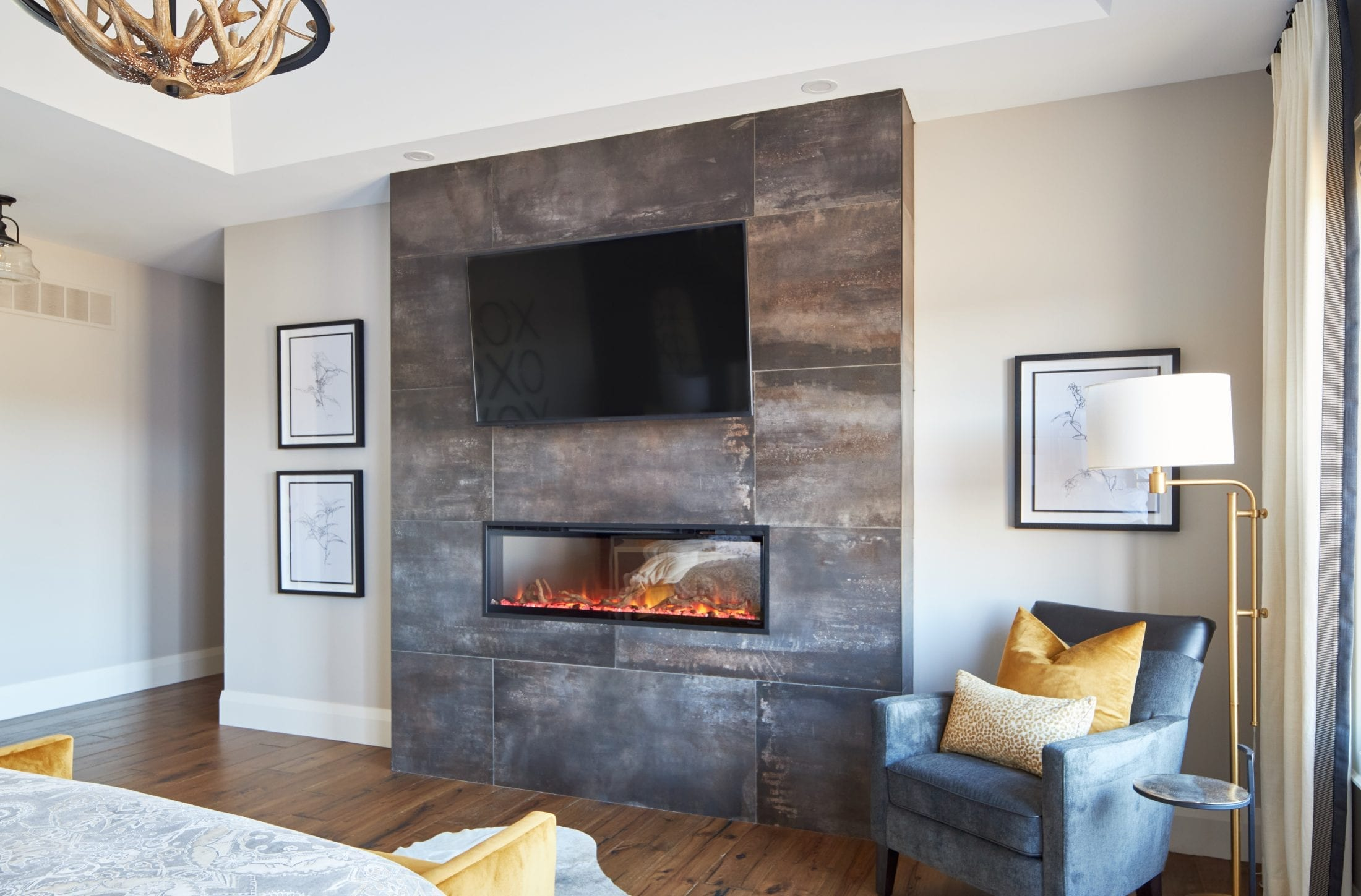 Lux Master Bedroom design fireplace with tv custom home
