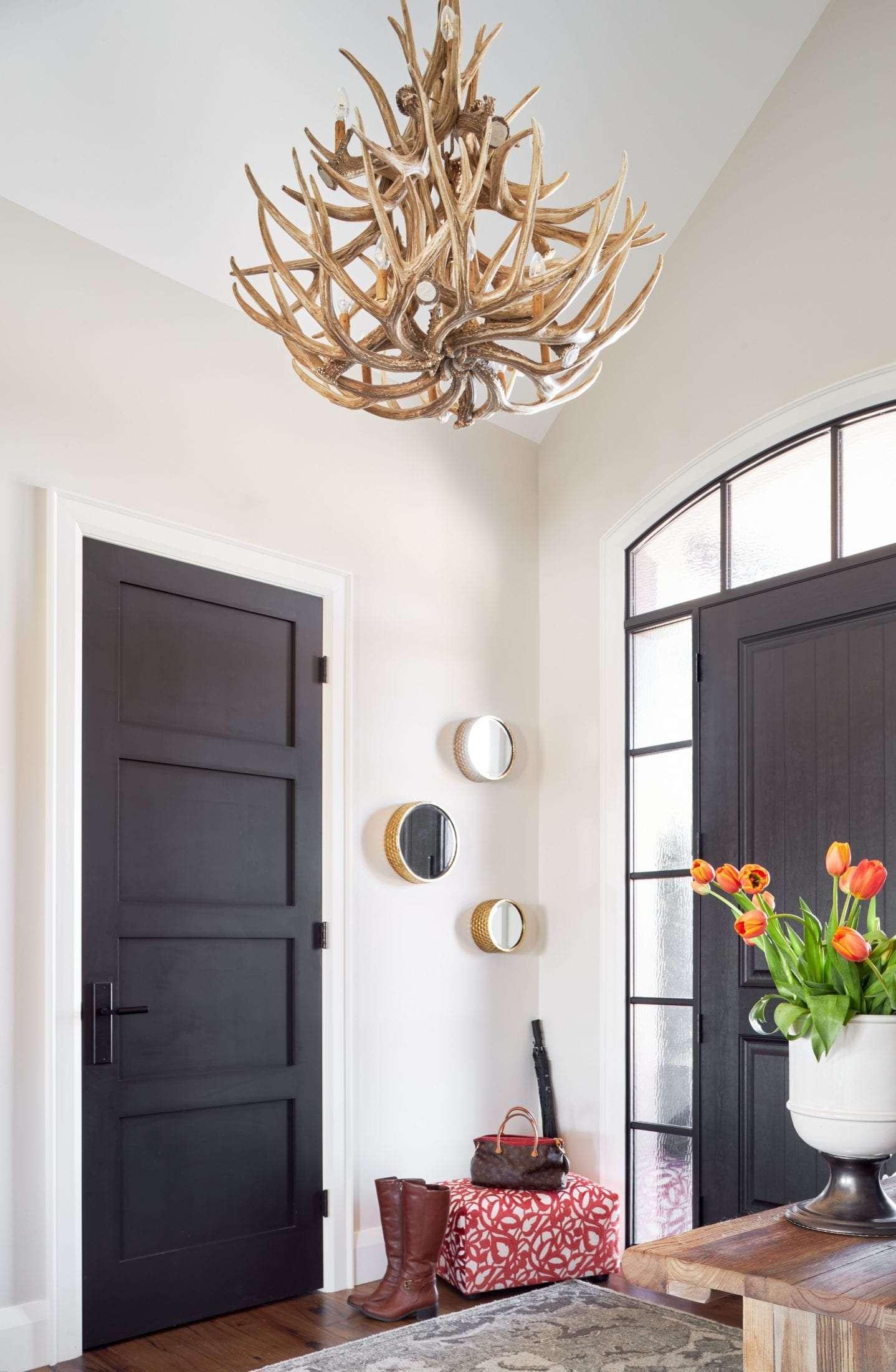 antler chandelier country estate custom home black interior doors 4 panel shaker
