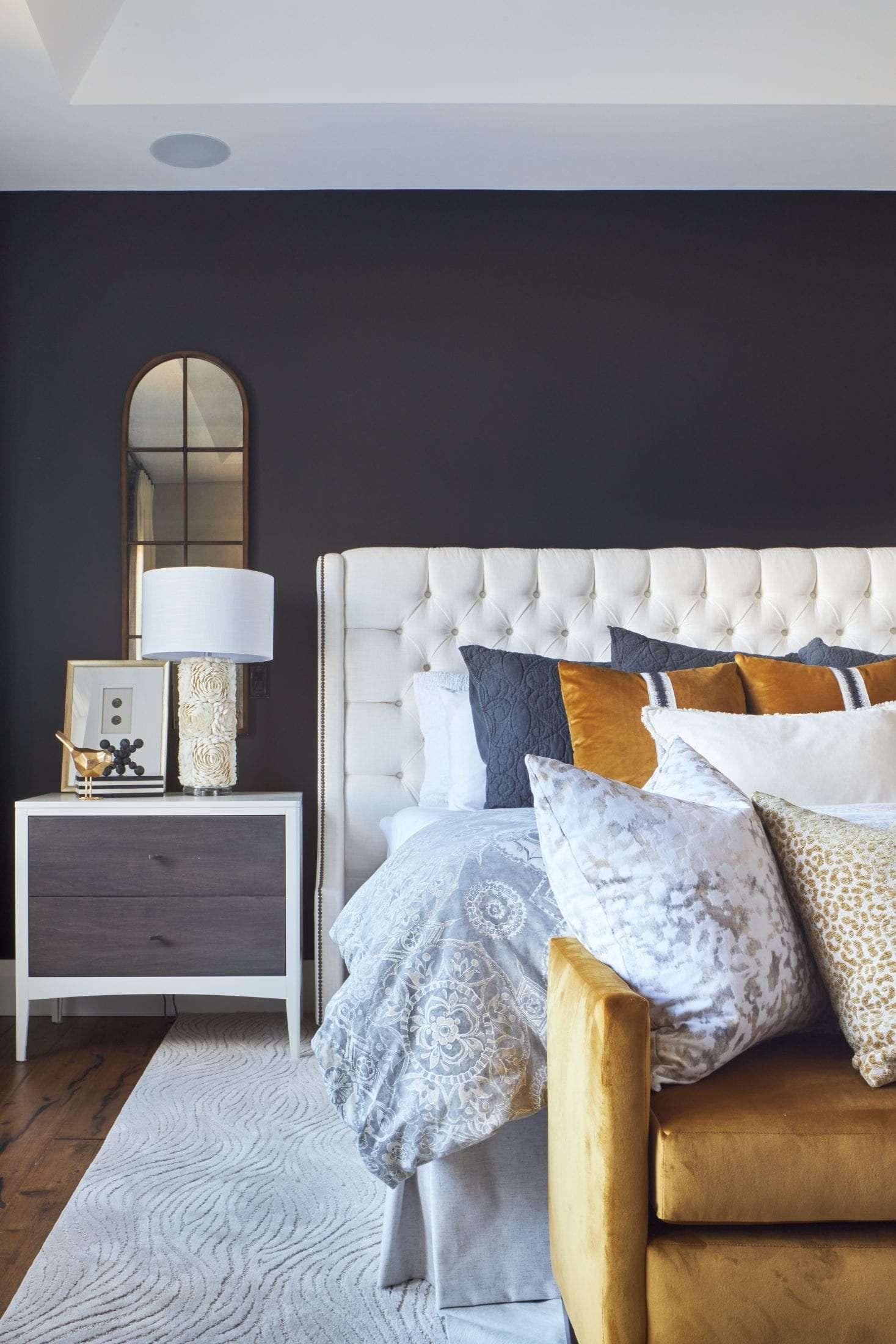white upholstered headboard Benjamin Moore Black Beauty Pottery Barn Duvet cover