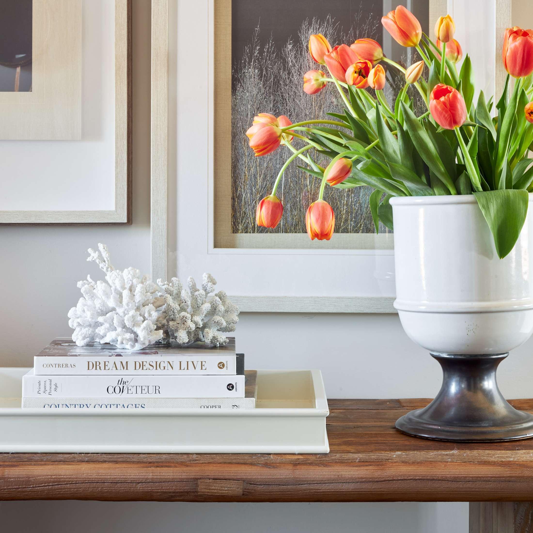 Custom Home Interior Design Foyer Decor orange tulips white coral